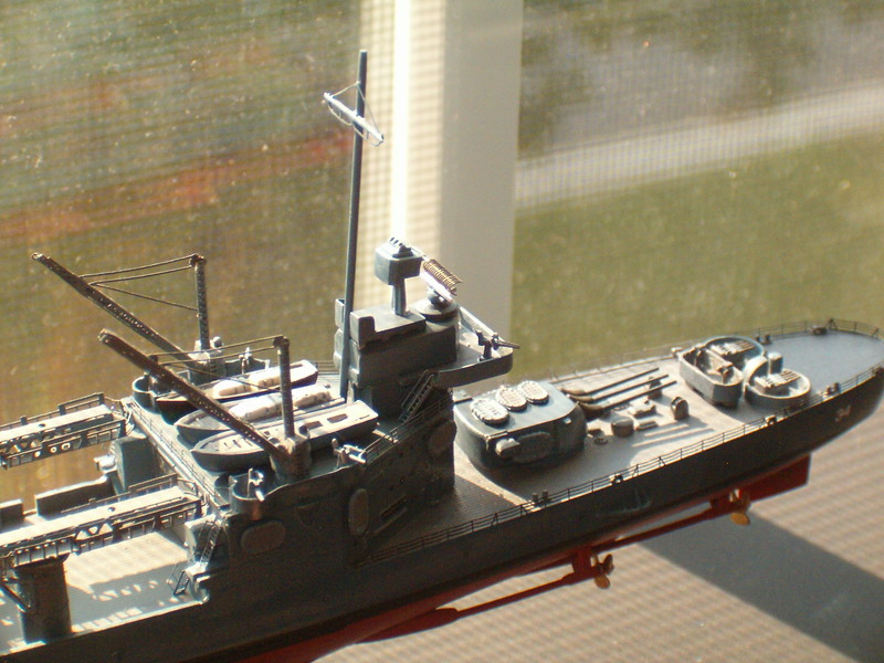 CA-34 improvements: Fore mast re-done in brass & styrene, minor parts added (20mm, Carly floats, main & secondary directors, ship's boats, screws, etc.)