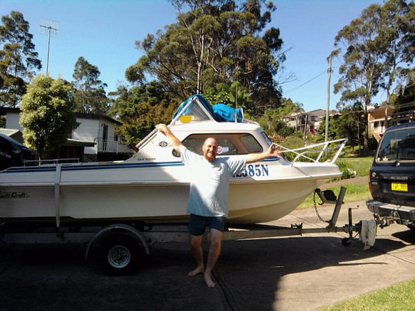 Greg and his new boat March 2010