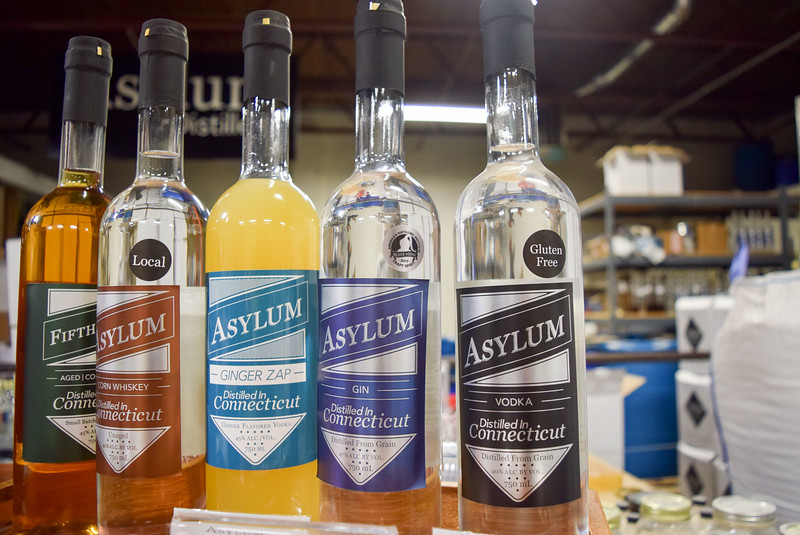 Asylum Distillery Whiskey, Ginger Zap, Gin and Vodka
