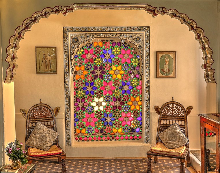 This place was magical!  When the sun shone through the stained glass it illuminated the room like a kaleidoscope! - Deogarh Mahal Palace