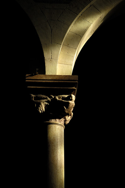 Romanesque column and arch, San Zeno basilica, Verona, Veneto, Italy