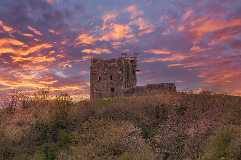 The Ruins of Dundonald Castle South Ayrshire Scotland at Sunset.