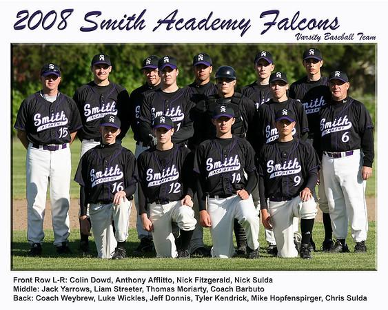 Smith Academy Falcons 2008 Varsity Baseball Team Photo