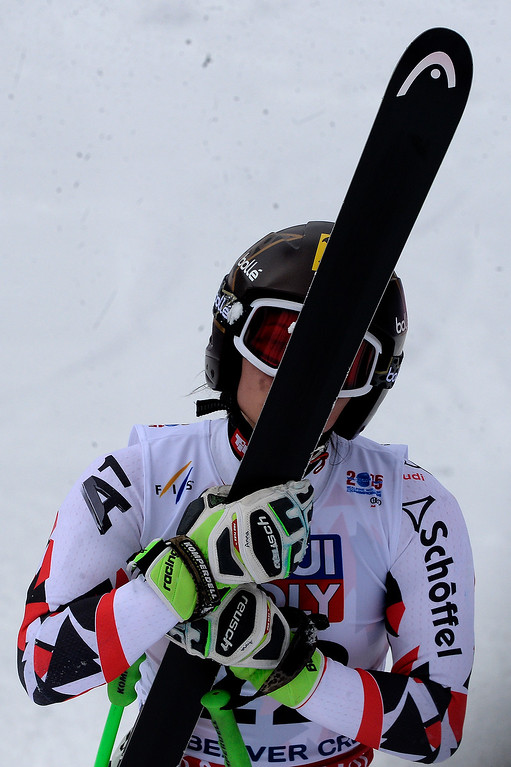 . BEAVER CREEK, CO - FEBRUARY 03: Anna Fenninger of Austria kisses her skis during the the ladies\' super-G finals. FIS Alpine World Ski Championships 2015 on Tuesday, February 3, 2015. (Photo by AAron Ontiveroz/The Denver Post)