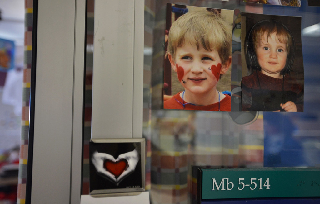 . Pictures of Cameron Ulrich of Oak Park Heights were affixed to the door of his room in the cardiovascular intensive care wing of St. Mary\'s Hospital in Rochester.   (Pioneer Press: Richard Marshall)