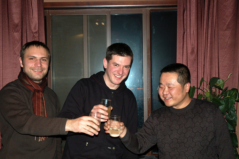 A toast with the restaurant's owner Mr Chang