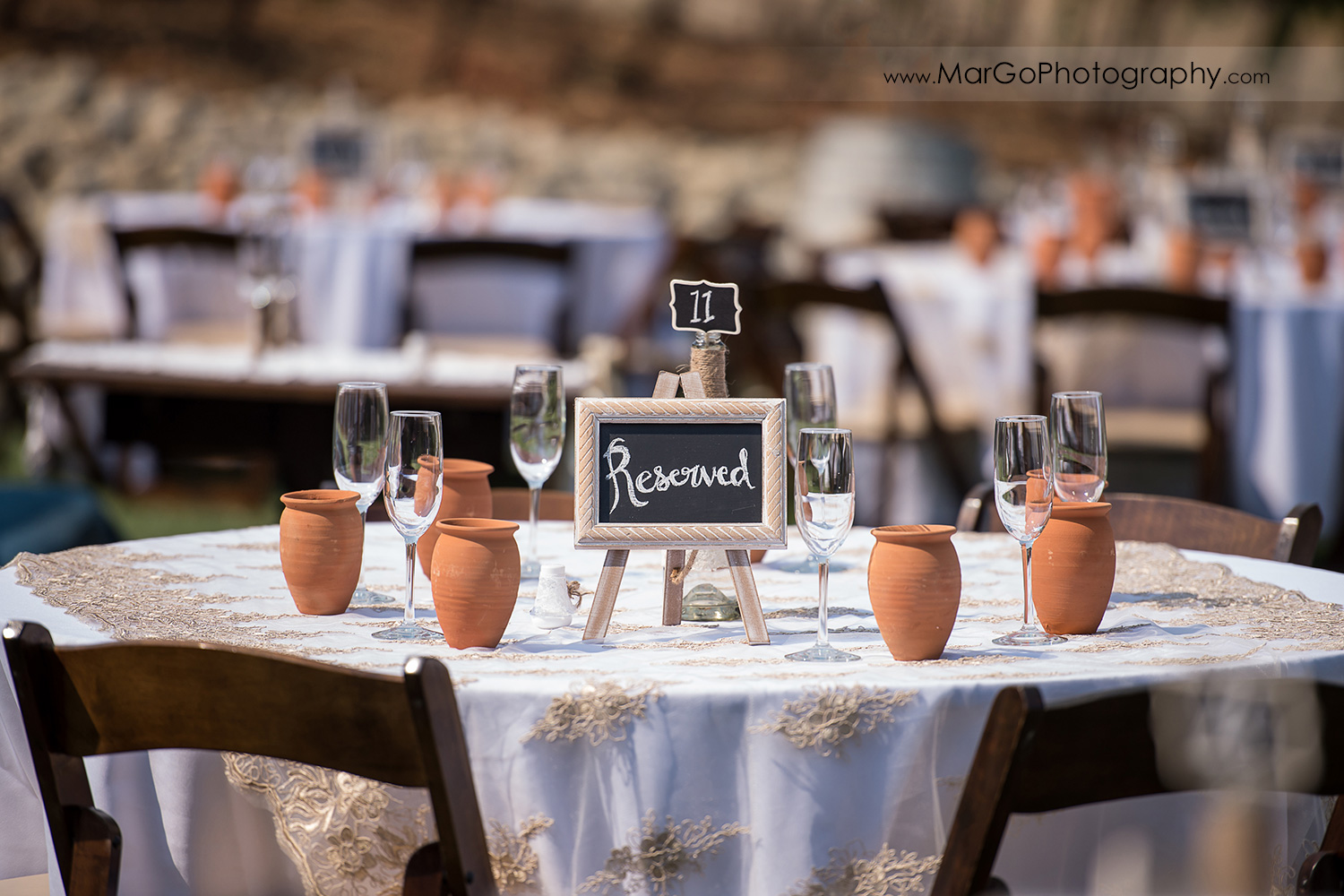 wedding reception table with reserved sign at Taber Ranch Vineyards