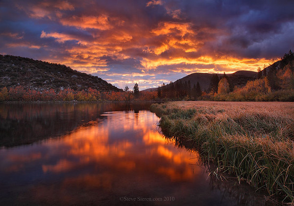 Wild light and fall color reflection at North Lake in the Eastern Sierra