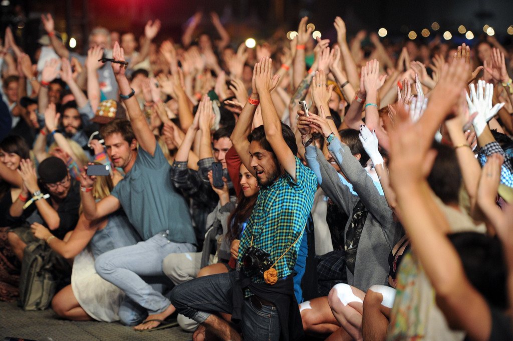 . Fans participate in Dan Deacon\'s set at FYF Fest in downtown L.A., Saturday, August 24, 2013. (Michael Owen Baker/L.A. Daily News)