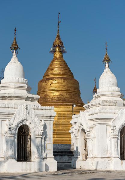 White and golden stupas, Kuthodaw Pagoda, Mandalay, Burma (Myanmar)
