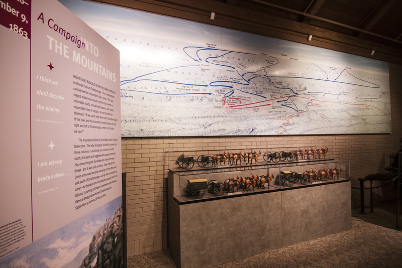 A map detailing the the massive Civil War battle on display at the visitor center at Chickamauga & Chattanooga National Military Park in Fort Oglethorpe, GA on Thursday, July 23, 2015. Copyright 2015 Jason Barnette