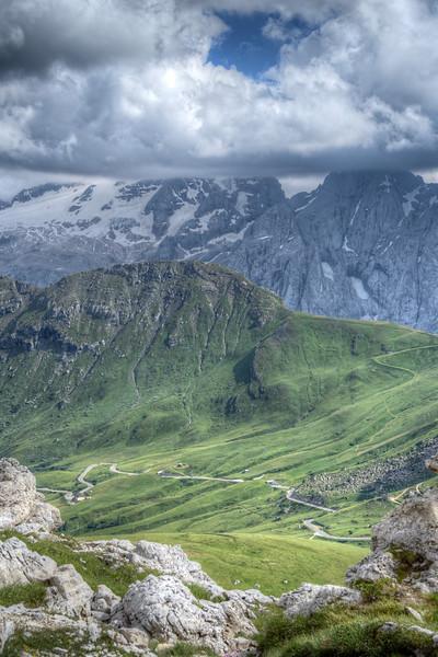 View from Forcella Pordoi - Sass Pordoi, Canazei, Trento, Italy - August 12, 2013