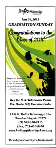 06/26/2011 -- 10:45 am -- Graduation Sunday