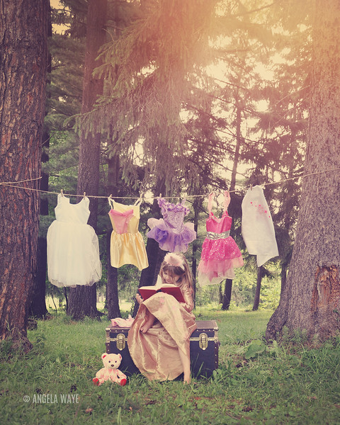 Princess Reading Book in Woods with Costumes