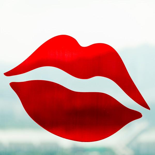 Close-up of lipstick kiss sign, Namsan Park, Namsan Mountain, Seoul, South Korea