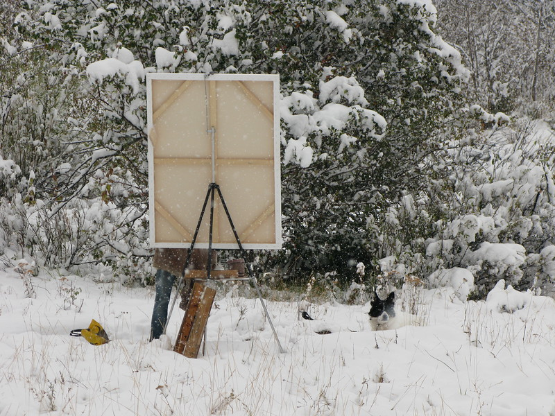 Painter in the snow