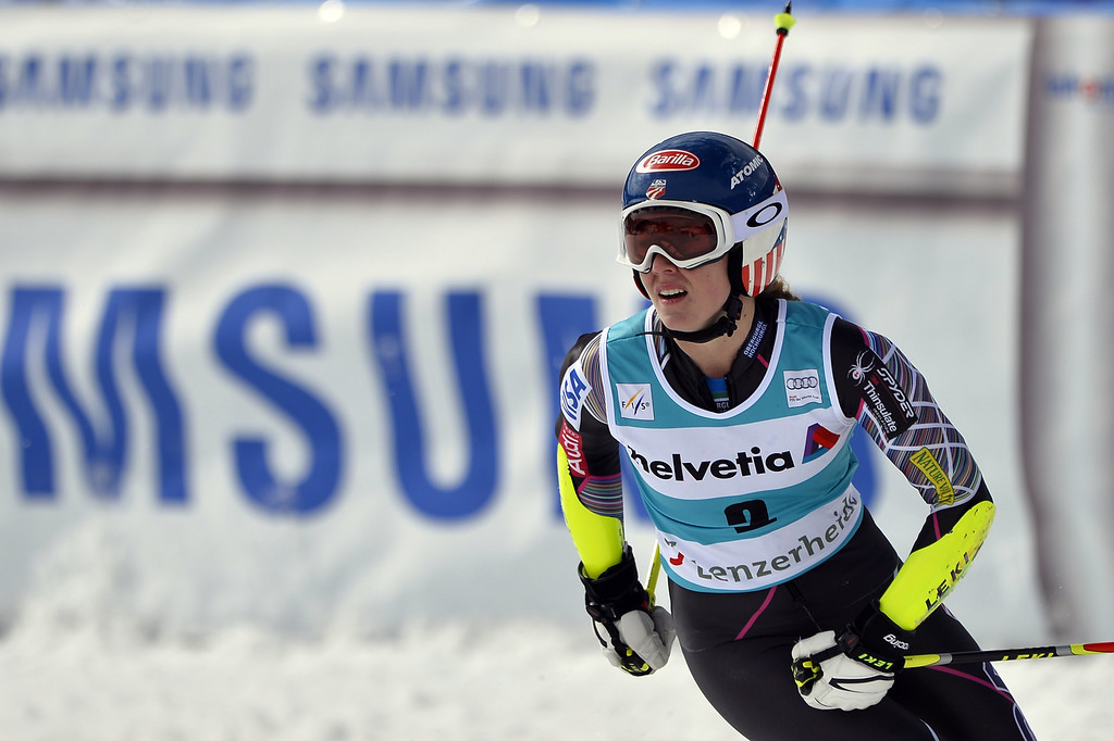 . US Mikaela Shiffrin reacts in the finish line of the FIS Women alpine skiing World Cup Giant Slalom, on March 16, 2014,  in Lenzerheide. AFP PHOTO / FABRICE COFFRINI