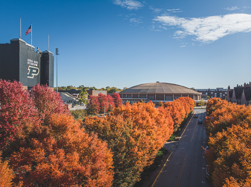 Ross Ade Stadium and Mackey Arena in the fall