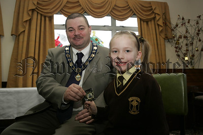 Cloughreagh House Primary Schools Art Competition. Deputy Mayor Martin Connolly pictured with Rachel Larkin St Malachy's P.S. Camlough. 06W52N4