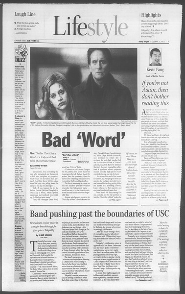 Daily Trojan, Vol. 144, No. 25, October 03, 2001