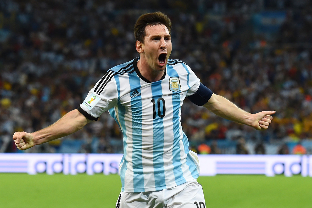 . Lionel Messi of Argentina celebrates after scoring his team\'s second goal during the 2014 FIFA World Cup Brazil Group F match between Argentina and Bosnia-Herzegovina at Maracana on June 15, 2014 in Rio de Janeiro, Brazil.  (Photo by Matthias Hangst/Getty Images)