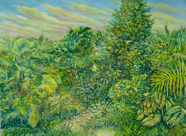 """©John Rachell  Title: The Garden, March 3, 2007 Image Size: 48"""" w by 36"""" d Dated: 2007 Medium and Support: Oil paint on Canvas Signed: LL Signature"""