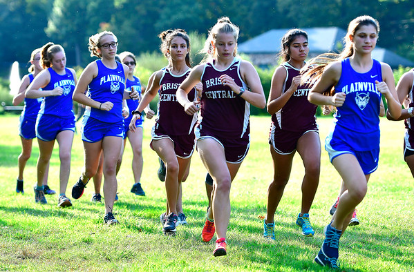 9/19/2018 Mike Orazzi | Staff The start of Wednesday's girls cross country meet between Bristol Central, Platt and Plainville at Rockwell Park in Bristol on Wednesday.