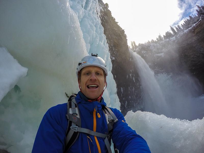 Tim Emmet getting into Helmcken Falls, Wells Gray Provincial Park, BC, Canada. February 2016