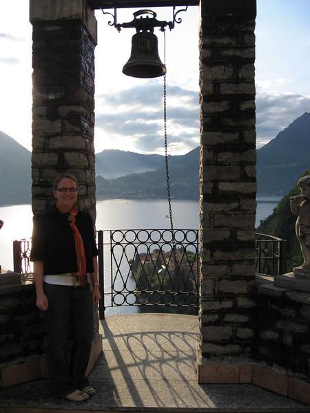 Erin on patio overlooking Varenna