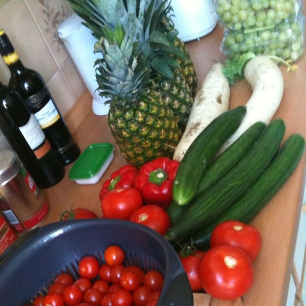 Market day. Our 7 Euro bounty from Yorkstrasse market. Berlin