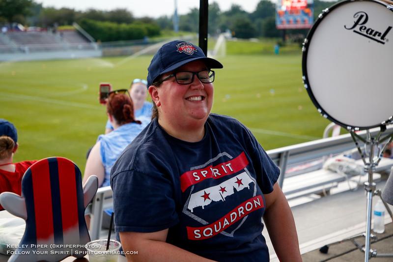 Spirit Squadron member at Maureen Hendricks Field in Boyds, MD, on July 20, 2019 for the Washington Spirit match against the Houston Dash.