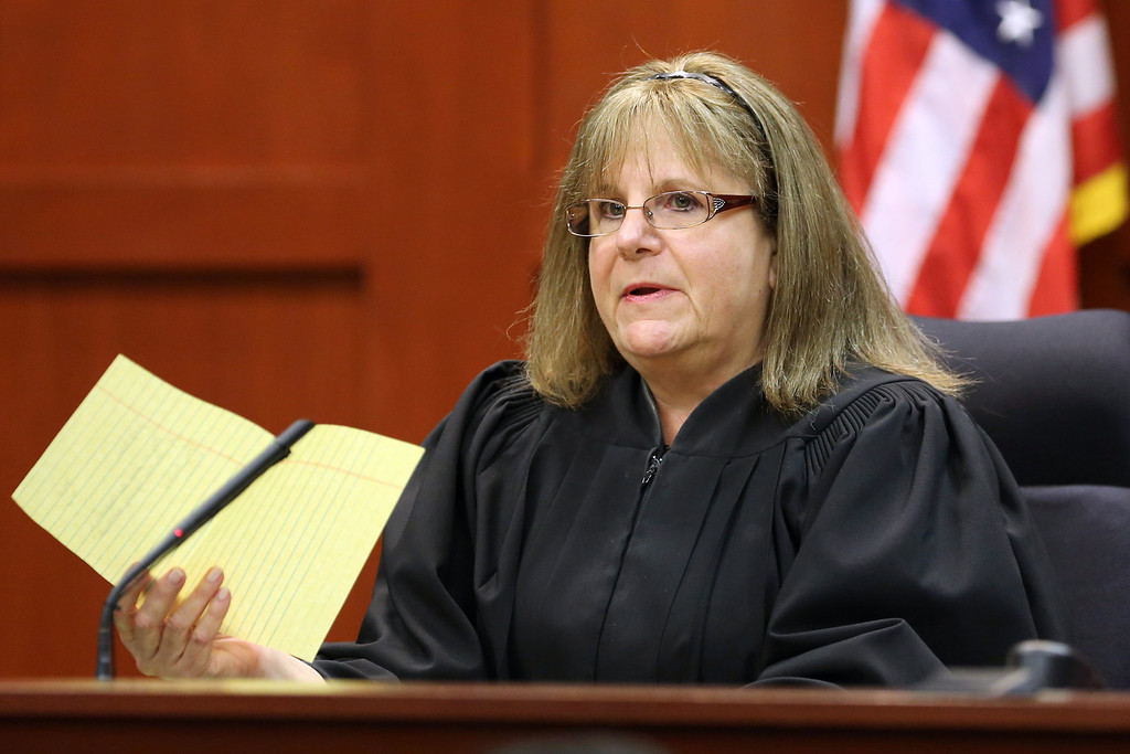 . SANFORD, FL - JULY 13:  Judge Debra Nelson addresses attorneys after informing them that the jury had a question on instructions for a charge of manslaughter, on the 25th day of George Zimmerman\'s trial at the Seminole County Criminal Justice Center July 13, 2013 in Sanford, Florida. Zimmerman is charged with second-degree murder in the 2012 shooting death of Trayvon Martin.  (Photo by Joe Burbank-Pool/Getty Images)