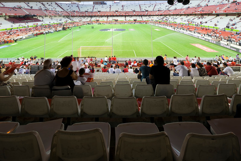 Stadium seats. Taken before the Spanish League game between Sevilla FC and Real Madrid, Sanchez Pizjuan Stadium, Seville, Spain, 4 October 2009