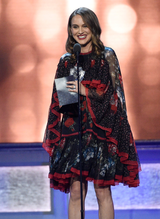 """. Natalie Portman accepts the award for best actress for \""""Jackie\"""" at the 22nd annual Critics\' Choice Awards at the Barker Hangar on Sunday, Dec. 11, 2016, in Santa Monica, Calif. (Photo by Chris Pizzello/Invision/AP)"""