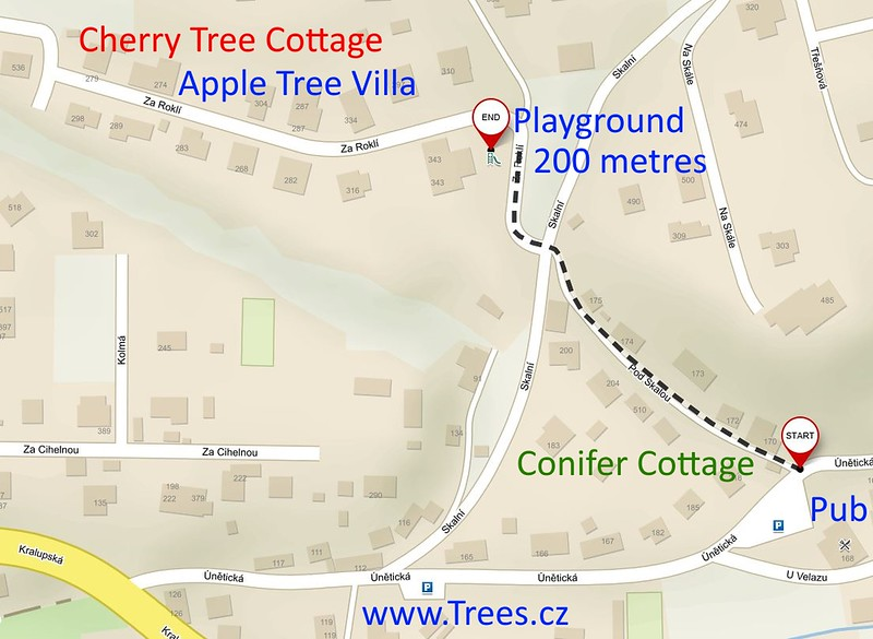 Directions from Conifer Cottage to Children's Playground