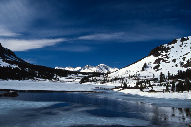 Frozen Tioga Lake, Spring Yosemite National Park California
