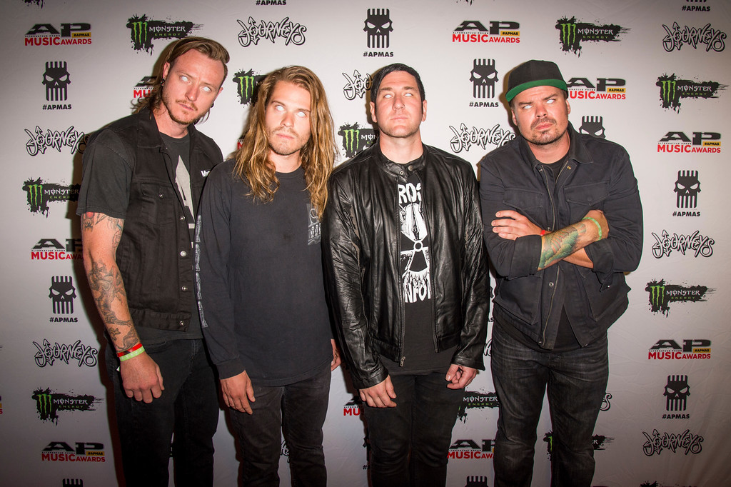. Matt Reinhard, from left, Kyle Koelsch, Joe Cotela and David Ludlow of Ded seen at 2017 Alternative Press Music Awards at the KeyBank State Theatre on Monday, July 17, 2017, in Cleveland. (Photo by Amy Harris/Invision/AP)