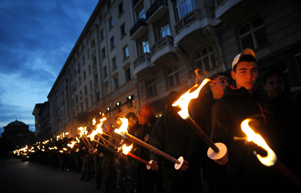 . Members of nationalist organizations march with torches in central Sofia on February 16, 2013. More than one thousand members of various nationalist organizations marched to commemorate General Hristo Lukov, a Bulgarian army commander from the World War I, who was killed on February 13, 1943. NIKOLAY DOYCHINOV/AFP/Getty Images