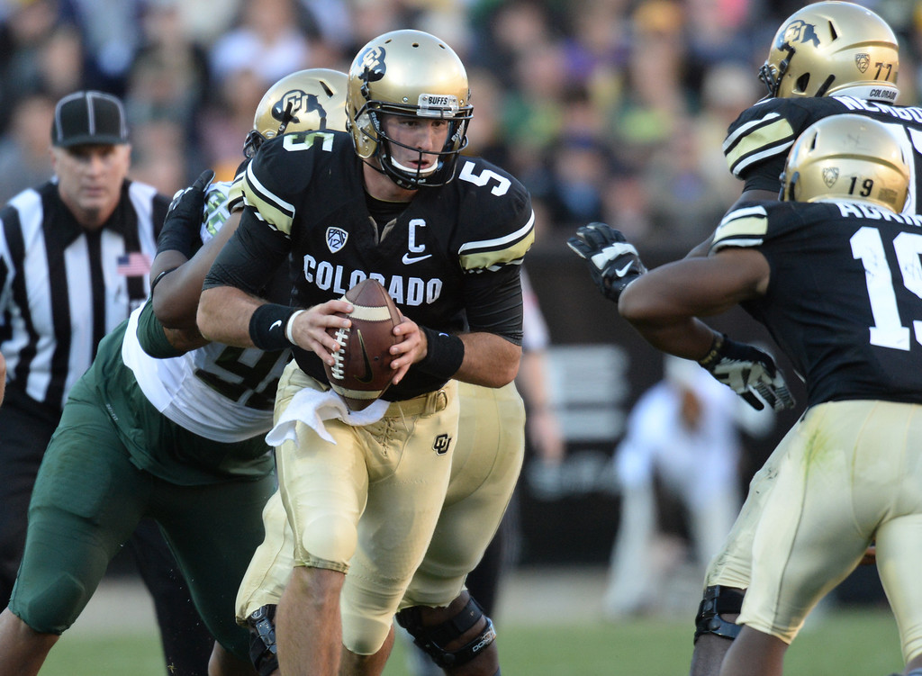 . QB Connor Wood of  University of Colorado in action in the 1st half against University of Oregon at Folsom Field. Boulder, Colorado. October 5, 2013. (Photo by Hyoung Chang/The Denver Post)