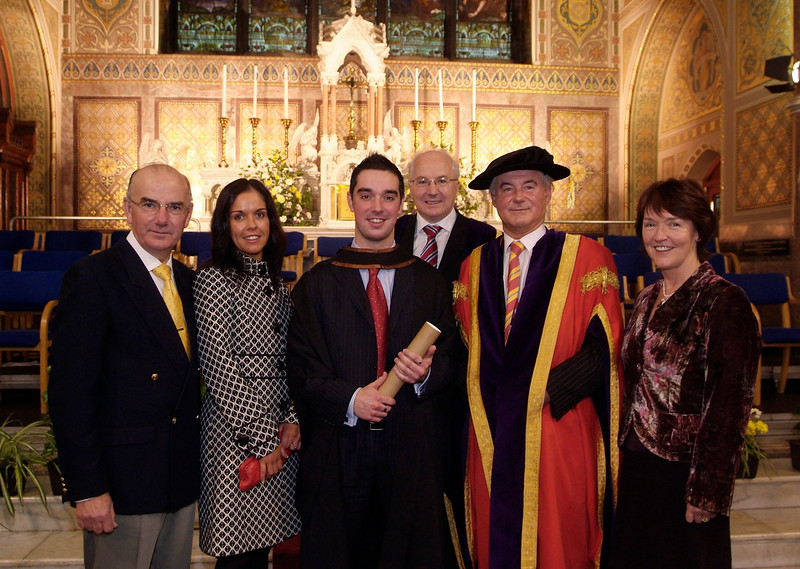 John Clancy (centre), Leoville, Dunmore Rd., Waterford pictured with from left: Declan Clancy, Clodagh Clancy, John McConnell, Prof. Kieran R. Byrne and Mena Clancy. John graduated with a BA (Hons) in Accounting from Waterford Institute of Technology