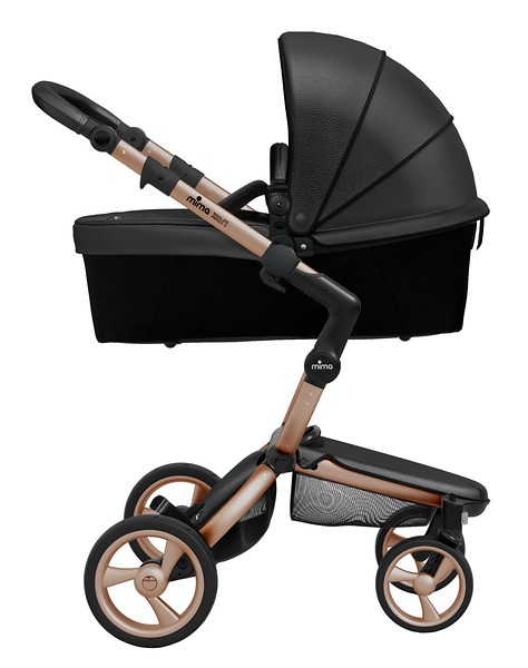 Mima_Xari_Product_Shot_Black_Flair_Rose_Gold_Chassis_Black_Carrycot_Side_View.jpg