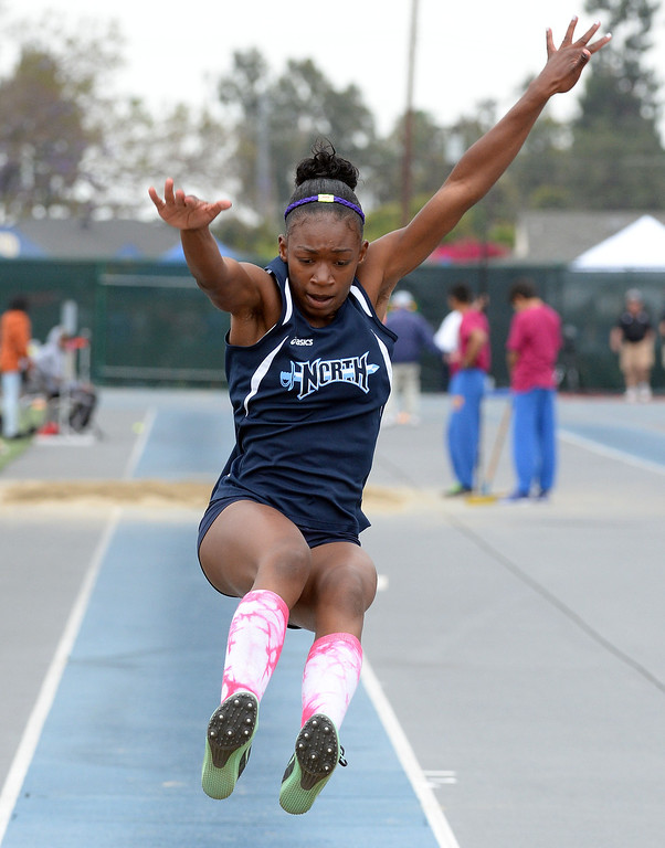 . North\'s Jasmine Bass competes in the Division 2 long jump during the CIF Southern Section track and final Championships at Cerritos College in Norwalk, Calif., Saturday, May 24, 2014.   (Keith Birmingham/Pasadena Star-News)
