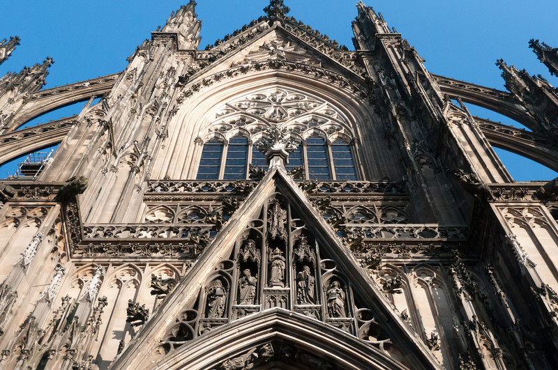 Looking up the main entrance door of Cologne Cathedral - Germany