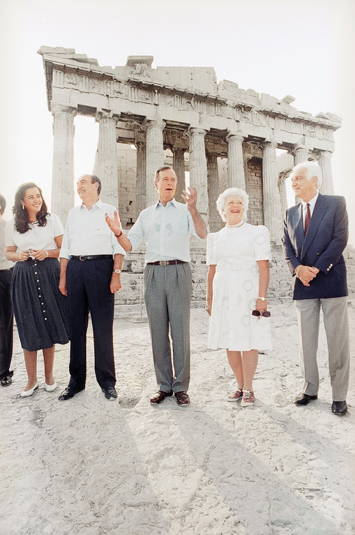 . After a week of summits and official business, President George Bush and Mrs. Barbara Bush took a tour of Greece\'s most famous ancient ruin, the Acropolis, during their visit to Athens, Friday, July 19, 1991. The Bush\'s tour guide was Greek Prime Minister Constantine Mitsotakis at left. (AP Photo/Dennis Cook)