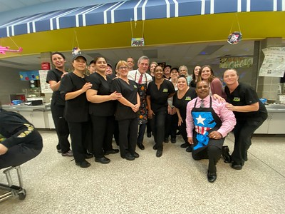 Governor Carney serves lunch for school lunch week