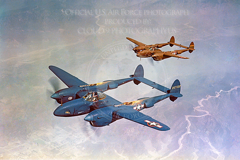 P-38 00004 Two US Army Air Corps in-flight Lockheed P-38 Lightning WWII era fighters, one blue and one olive drab, Official USAF Picture.JPG