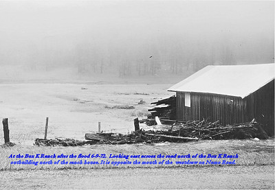 At the Box K Ranch after the flood of 6/9/72.  Looking east across the road north of the Box K Ranch outbuilding north of the ranch home.  It is opposite the mouth of the westdraw on Nemo Road.
