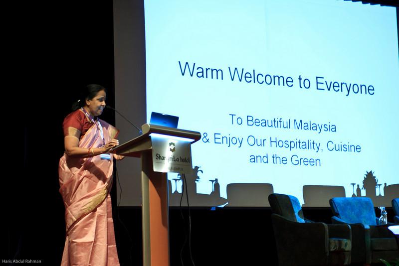 Dr Purushotaman giving the welcoming speech