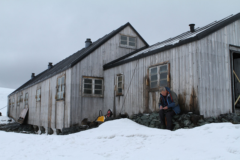 """South of the Antarctic Circle, Detaille Island, British scientific base """"W"""" of the late 1950s at 66˚52'S, 66˚48'W   I'm writing some Post Cards... not a bad days, low 30's."""