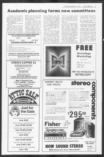 Daily Trojan, Vol. 64, No. 22, October 21, 1971